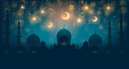 Islam. Magical oriental night on vector picture. Vector illustration of fantastic night in oriental palace with golden stars.