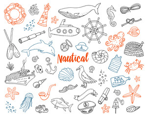 sea or marine and nautical life. Outline Summer time web icons set. engraved hand drawn in old sketch. dolphin and captain, anchor and ocean. doodle style