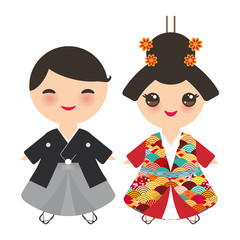 Japanese boy and girl in national costume. kimono, Cartoon children in traditional dress. Japan sakura wave circle pattern red burgundy colors card banner design isolated on white background. Vector