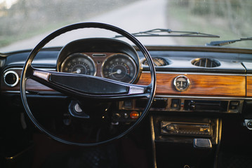 Dashboard of retro car
