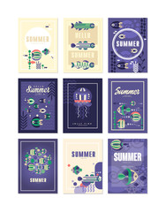 Hello, Summer greeting cards set, holidays, travel and fishing vector Illustrations, design element for banner or poster