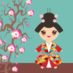 Japanese girl in national costume. kimono, Cartoon children in traditional dress. Japan wave circle pattern red burgundy card banner design on blue background. Sakura branch with pink flowers. Vector