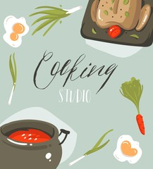 Hand drawn vector abstract modern cartoon cooking studio illustrations poster card with food,vegetables and handwritten calligraphy Cooking studio isolated on grey background