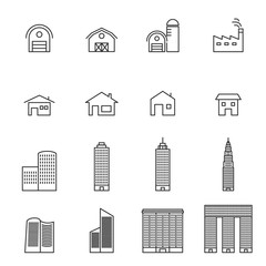 house line icons set vector illustration