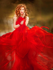 Woman in Red Dress, Lady Fantasy Gown Flying and Waving, Hair Blowing on Wind