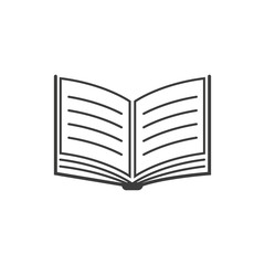 Book Icon. Black vector illustration on white background.