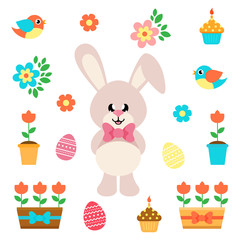 cartoon easter elements with bunny