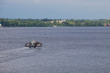 Barge floating on the Dnieper river