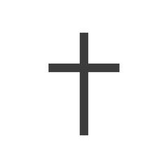 Symbol of a church cross. Christianity religion symbol. Flat black vector illustration on white background.
