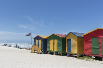 Colorful huts/ houses along the beach in Muizenberg, South Africa