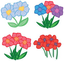 Collection of pretty cartoon spring and summer flowers