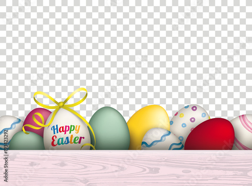 """Happy Easter Wooden Plank Eggs Transparent"" Stock Image"