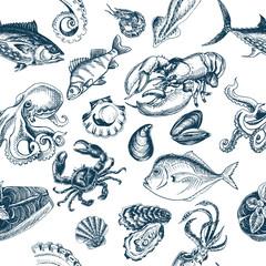 Vector illustration sketch - fish pattern