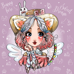 Fox angel cute little girl with wings, little bunny on hat. Beauty fashion kids portrait, anime cartoon character, hand drawn vector illustration