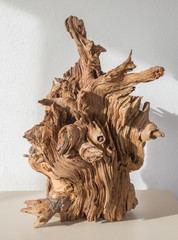 The modern wood decorative sculpture.