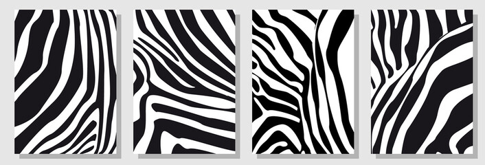 Set of A4 covers with zebra pattern. Template for cards, banners, posters.