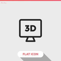 3D monitor vector icon