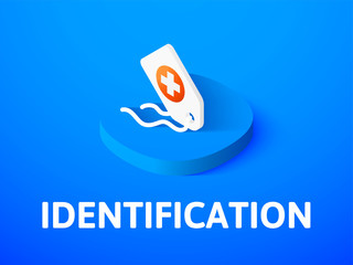 Identification isometric icon, isolated on color background