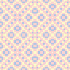 Geometric pink colored seamless pattern with blue and beige elements