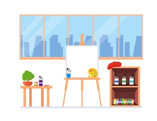 Painter artist workshop room interior