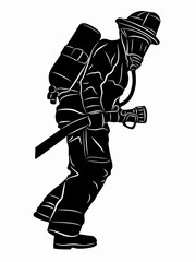 silhouette of a fireman, vector draw