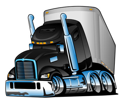 Semi-truck with Trailer Big Rig Cartoon Isolated Vector Illustration, big black and beautiful, lots of chrome, cool stance