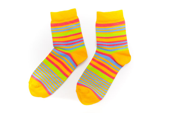 Striped socks on a white background.
