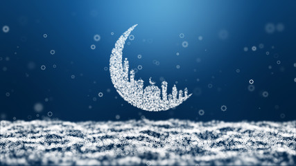 Moon Mosque Sighting Announcement Ramadan kareem Mubarak and eight star particle blue Background.