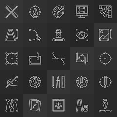 Design and graphics linear icons vector collection