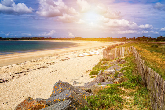 Beach of Landrezac, Sarzeau, Morbihan, Brittany (Bretagne), France