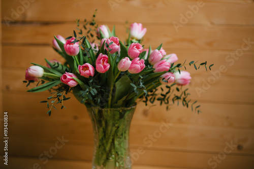 A Bouquet Of Pink Tulips In A Beautiful Crystal Vase Stock Photo