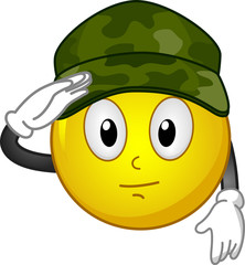 Smiley Mascot Military Salute Illustration