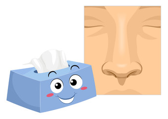 Mascot Tissue Nose Hygiene Illustration