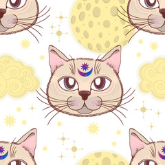 Vector pattern with a cat, moon, stars. Magical and fairy. Suitable for postcards, printing, posters, textiles.
