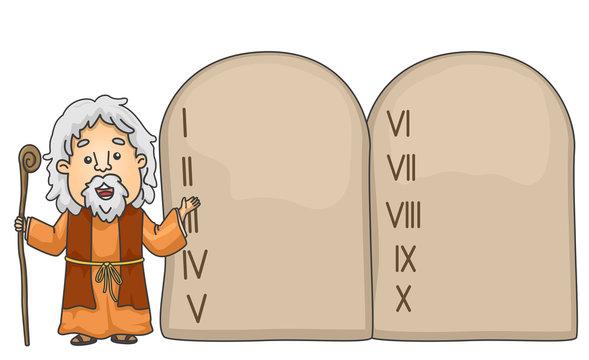 Man Moses Tablet Commandments Illustration