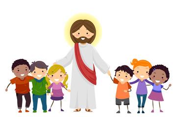 Man Jesus Stickman Kids Illustration