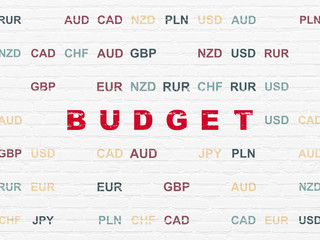 Currency concept: Painted red text Budget on White Brick wall background with Currency