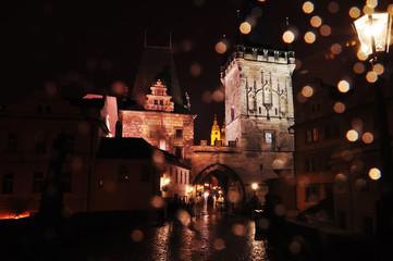 Fotobehang - Magic fabulous night view of Prague.