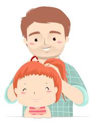 Man Dad Kid Girl Hair Tie Illustration