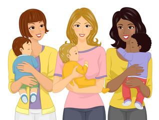 Girls Group Moms Babies Illustration