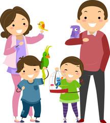 Stickman Family Bird Pet Illustration