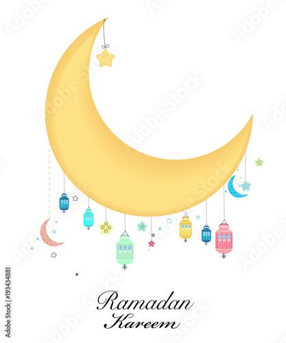 Ramadan kareem with moon and star ramadan night traditional ramadan kareem with moon and star ramadan night traditional colorful lantern of ramadan greeting card m4hsunfo