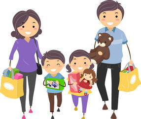 Stickman Family Shop Toys Illustration