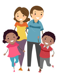 Stickman Foster Family Illustration