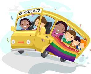 Stickman Kids School Bus Banner Illustration