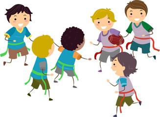 Stickman Kids Boys Flag Football Illustration