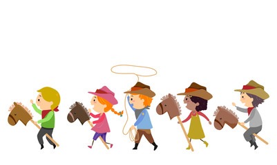 Stickman Kids Cowboy Horse Illustration