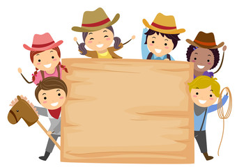 Stickman Kids Cowboy Board Illustration