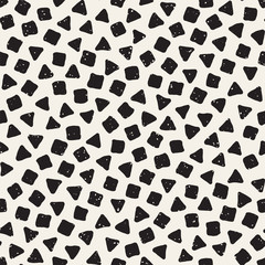Hand drawn black and white ink abstract seamless pattern. Vector stylish grunge texture. Monochrome geometric scattered shapes