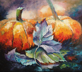 Original oil painting on canvas - Pumpkins - Impressionism - Modern art